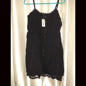 Black Empire Button Down Lace Trim Dress